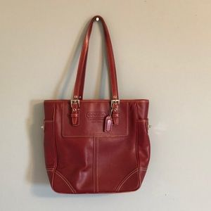 Red Coach leather bag